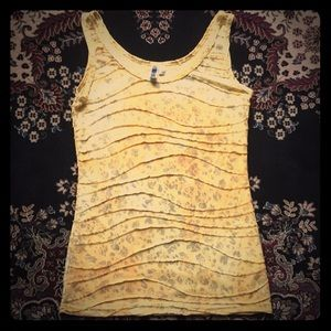 BKE Yellow Cheetah Sparkly Ribbed top